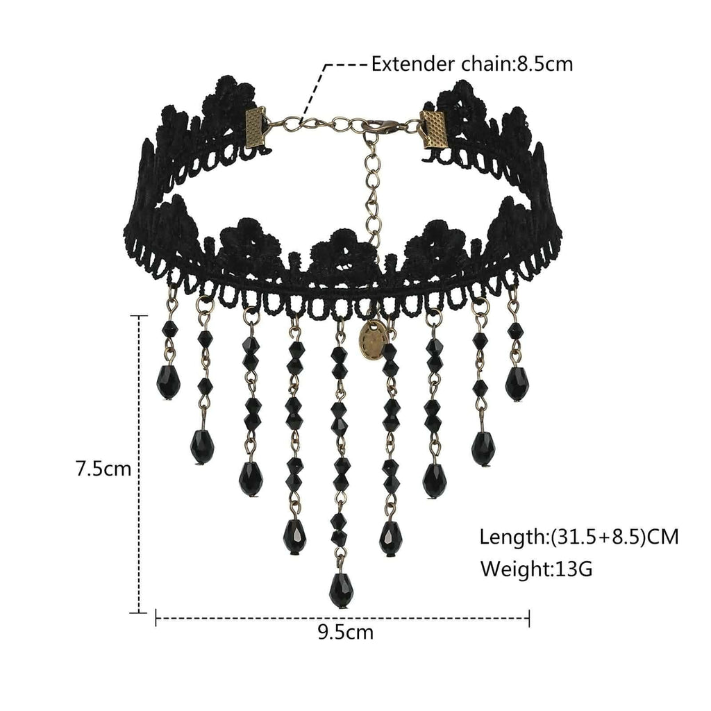 Chokers Cute Black Choker Velvet CZ Tassel Lace Flower Black Len 31.5+8.5CM - AnaDx