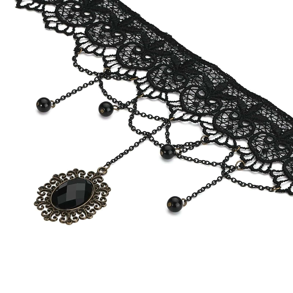Black Chokers Necklaces Stone Drop Lace Black Gold Len 35+6.5CM - AnaDx