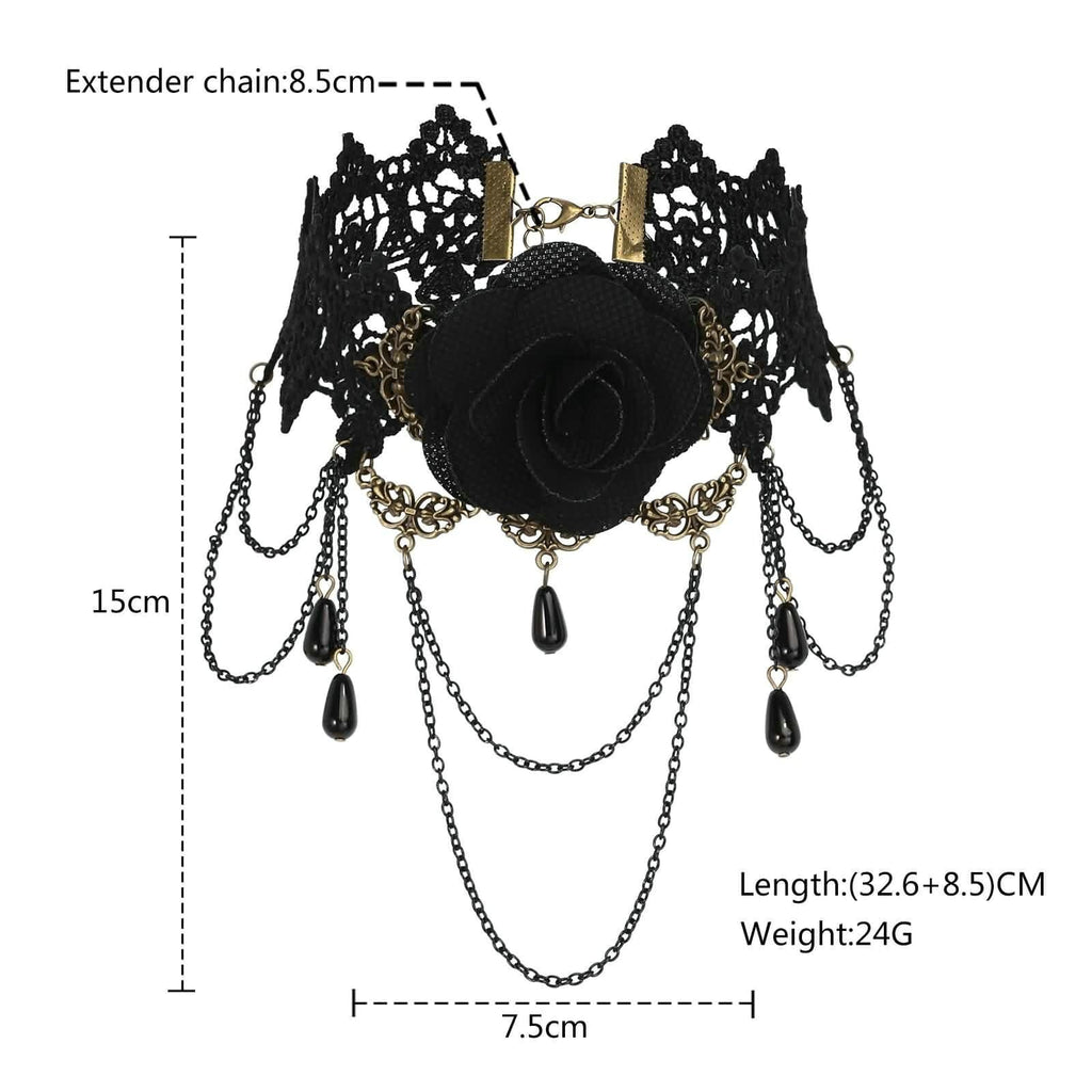 Gold Layered Chokers Black Flower Rose Beads Gothic Lace Black Len 32.6+8.5CM - AnaDx