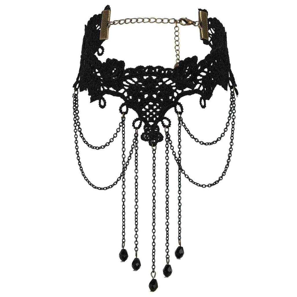 Womens Choker Necklace Chokers Leather Gothic Beads Tassels Lace Black Len 26.5+11.7CM - AnaDx