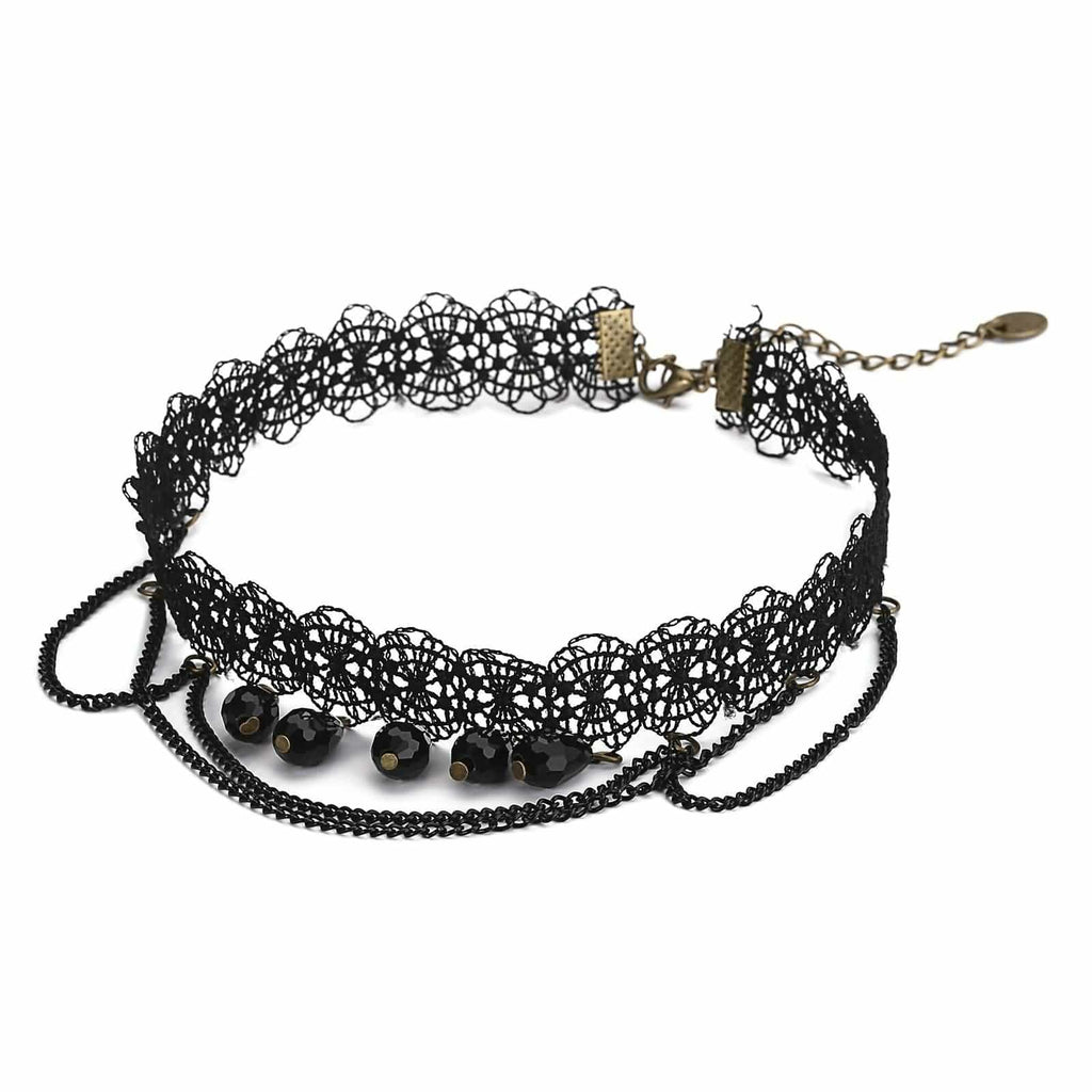 Chokers and Charms Black Choker Diy Braided Fabric Beads Tassel Lace Black Len 33+8.7CM - AnaDx