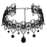 Womens Choker Collar Chokers Chain Retro Teardrop Zirconia Beads Lace Black Len 32.3+8CM - AnaDx