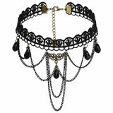 Choker Necklace Leather Choker Collar Choker Velvet Beads Tassels Lace Black Gold Len 32+7CM - AnaDx