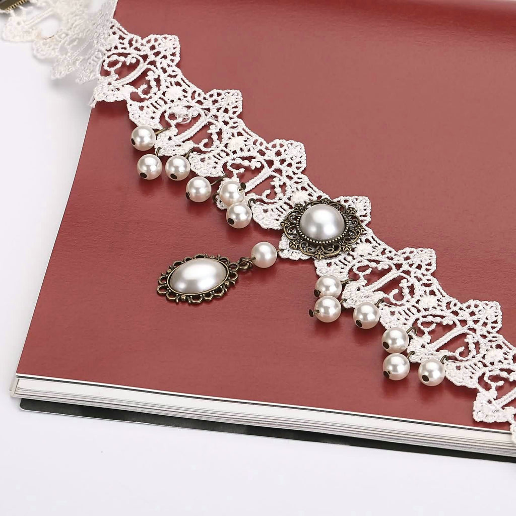 Double Layer Choker Necklace Womens Lace Choker Flower Gothic Bead Pearl Lace White Len 33.7+8.3CM - AnaDx
