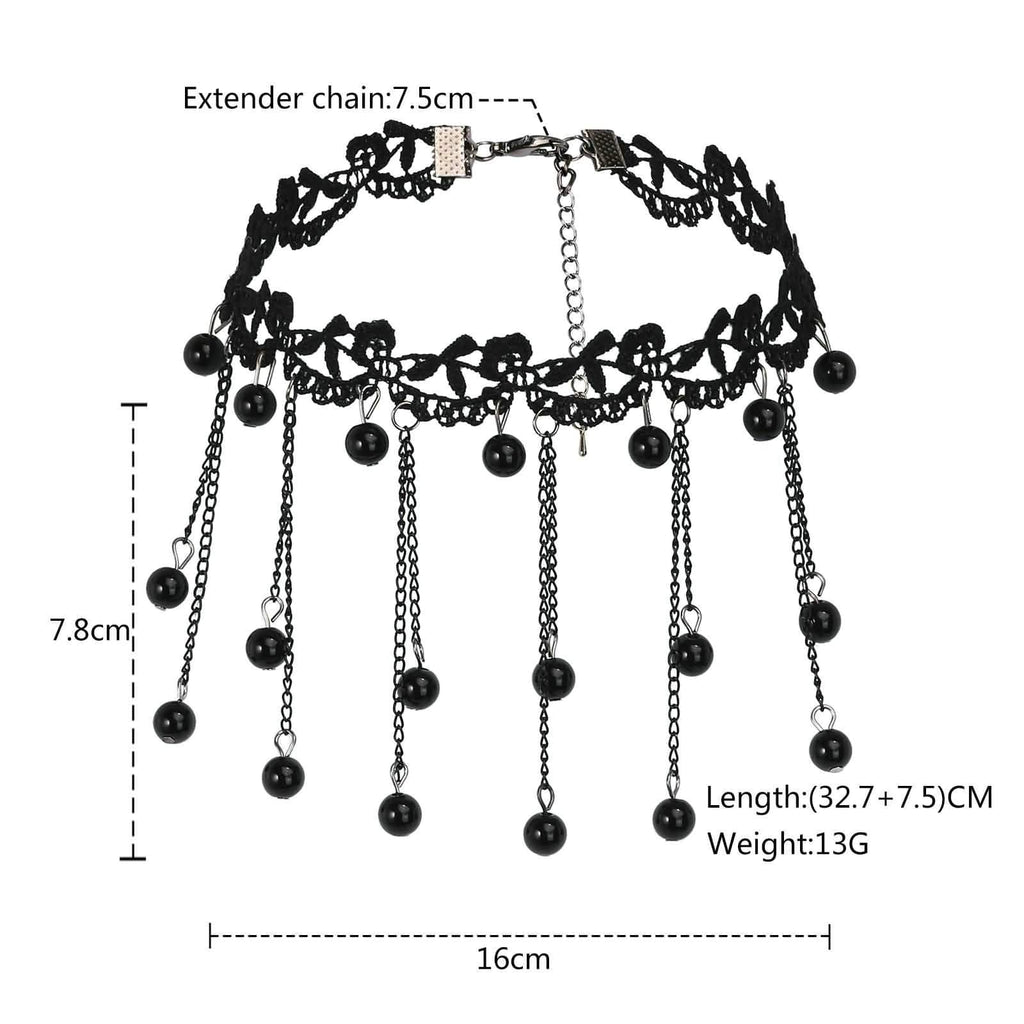 Double Layer Choker Necklace Black Choker 90S Lace Flower Cute Beads Lace Black Len 32.7+7.5CM - AnaDx