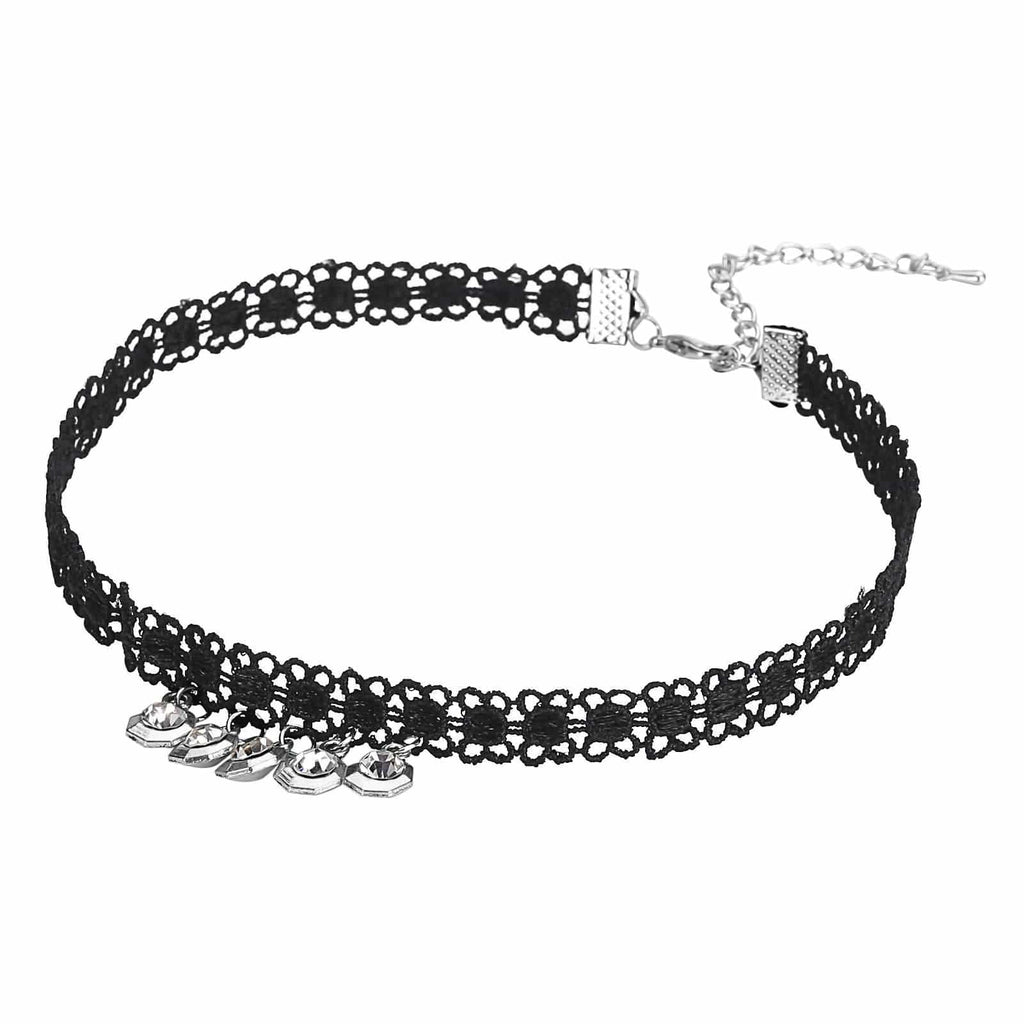 Gold Layered Choker Womens Choker Top Five Layer Zirconia Lace Black Silver Len 33.5+8CM - AnaDx
