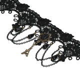 Black Choker Necklace Choker Chain Tower Beads Tassel Lace Black Len 27.4+11CM - AnaDx
