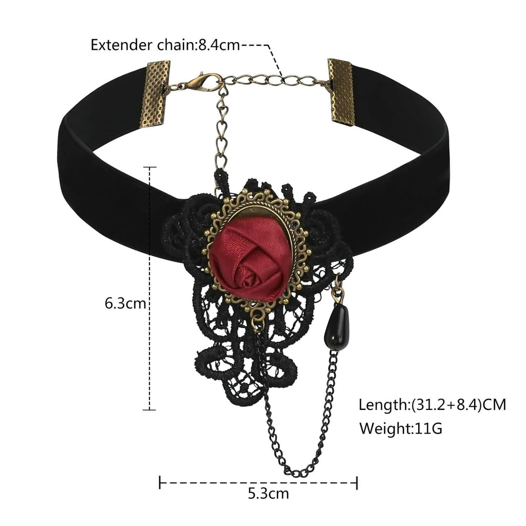 Black Choker Collar Womens Lace Choker Flower Beads Velvet Black Red Len 31.2+8.4CM - AnaDx