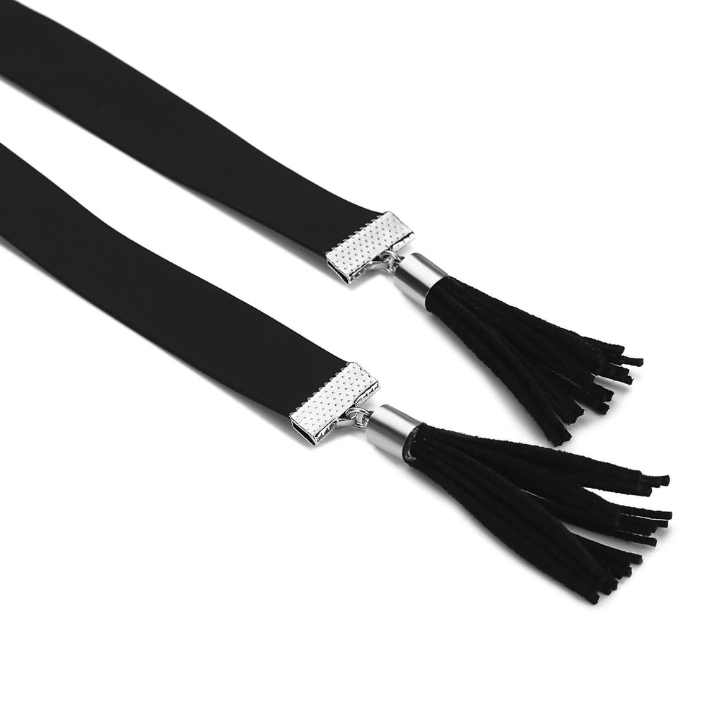 Double Layer Chain Chokers Cute Double Strand Tassels Leather Black Len 140CM - AnaDx