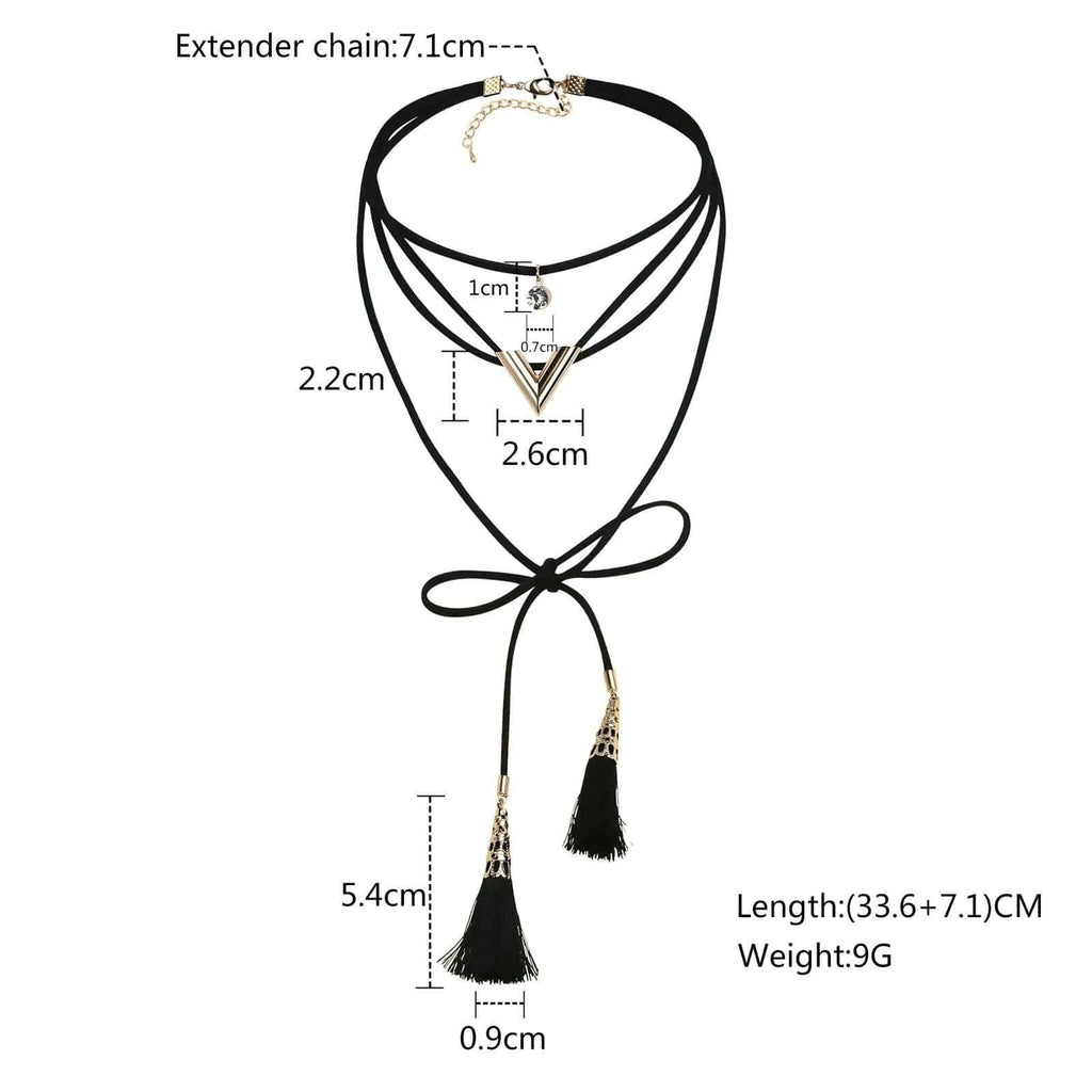 Chokers and Charms Choker Necklace Double Strand Tassels V CZ Velvet Black Gold Len 33.6+7.1CM - AnaDx
