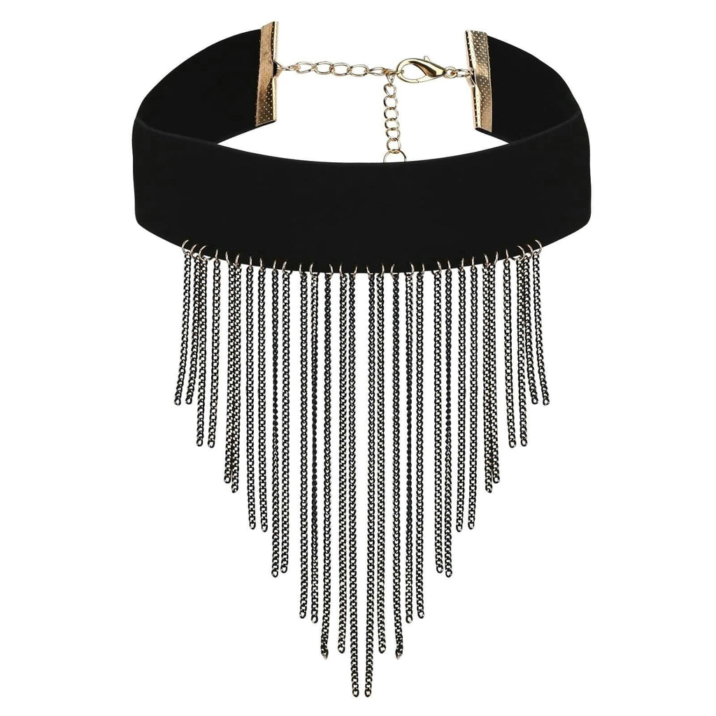 Womens Choker Collar Chokers Beaded Multi Tassels Velvet Black Gold Len 32.3+7.4CM - AnaDx