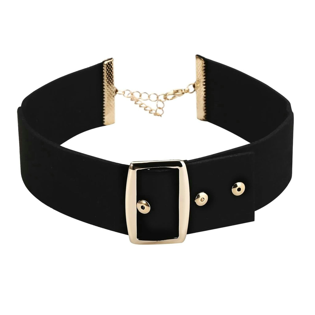 Womens Jewellery Choker Necklace Choker Collar Punk Rivets Belt Velvet Black Gold Len 30.7+5.8CM - AnaDx