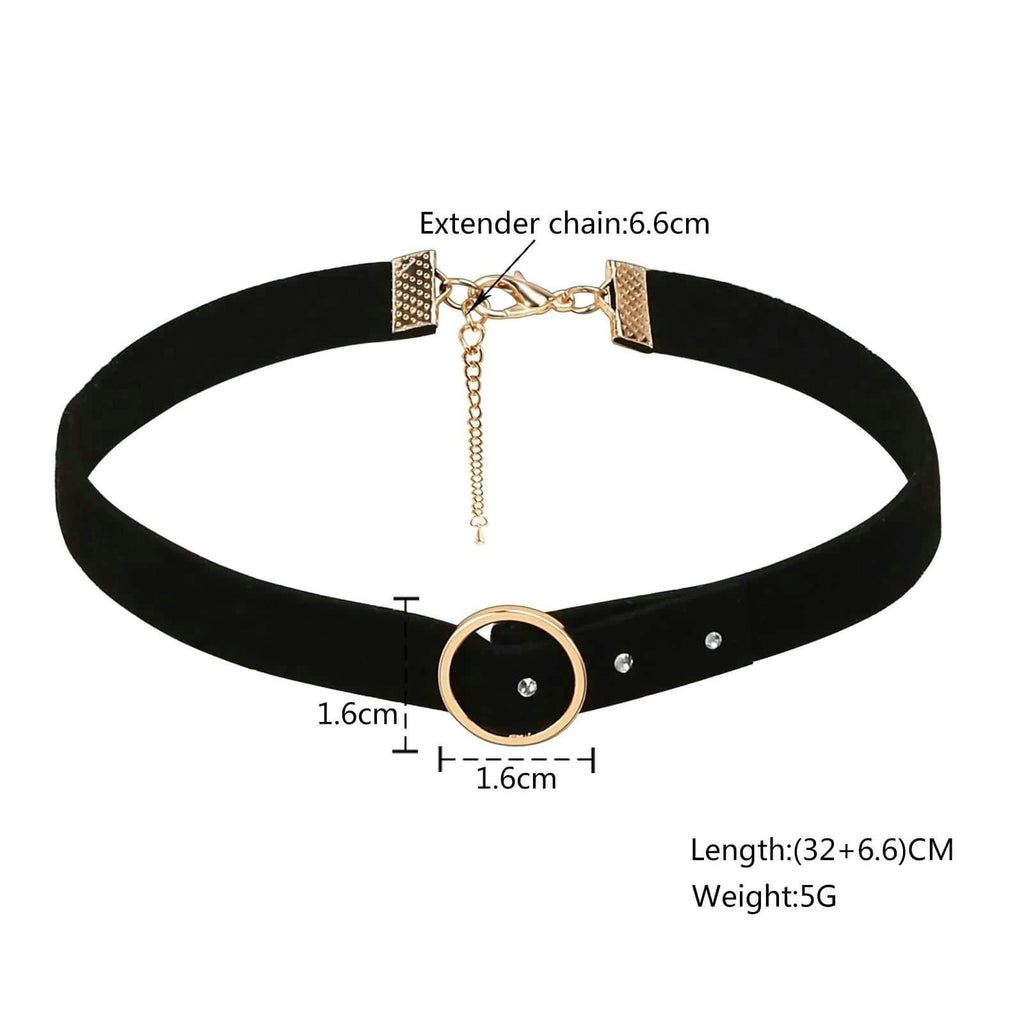 Womens Choker Necklace Choker Necklaces Velvet Leather Black Gold Neckband Circle Zirconia - AnaDx
