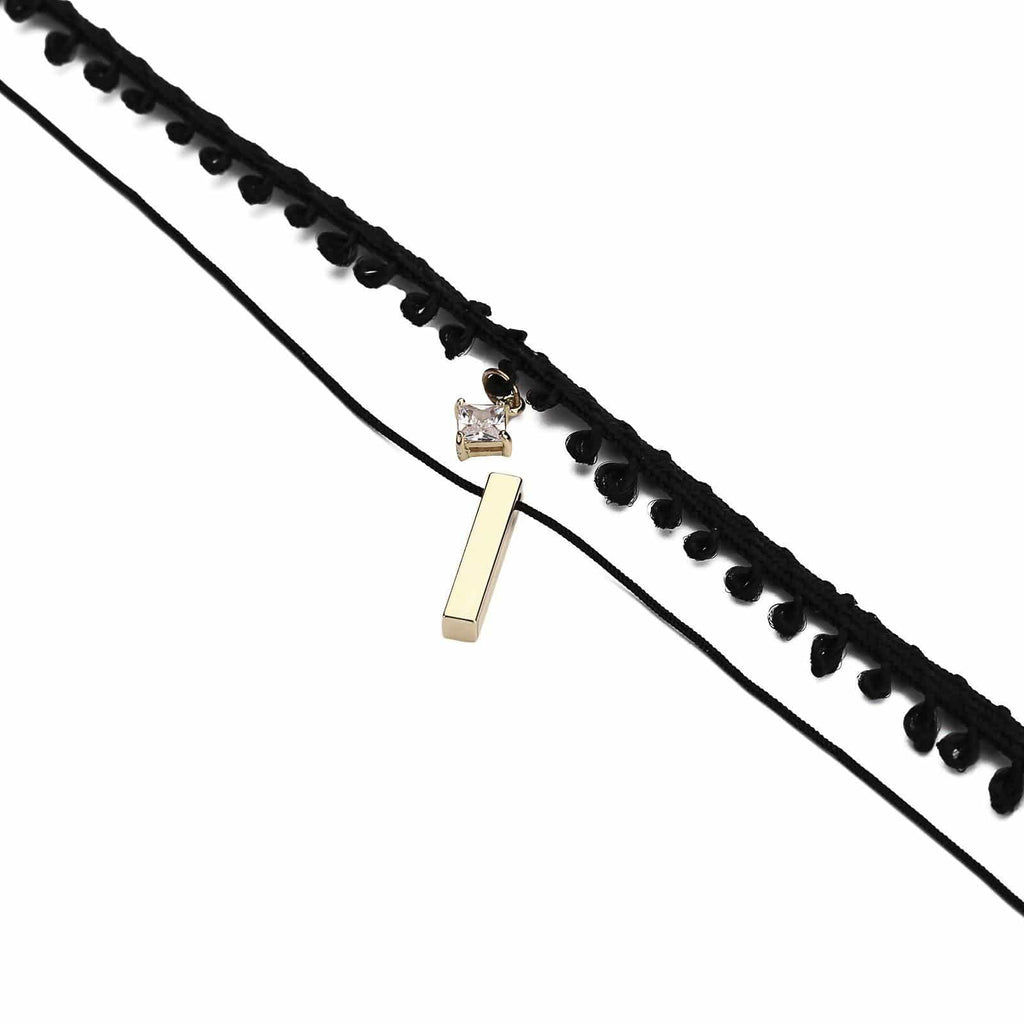 Multi Layer Choker Necklace Chokers Chain Cuboid Square Zirconia Leather Gold Black Len 31.8+6.2CM - AnaDx