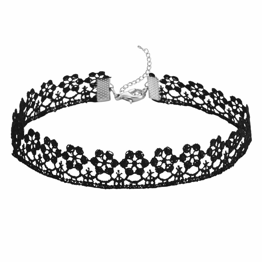 Choker Necklace Leather Choker Chain Vintage Hollow Flower Gothic Lace Black Len 30.4+8.2CM - AnaDx