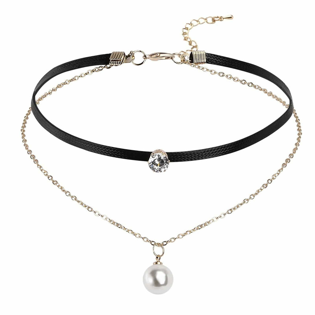 Black Choker Collar Black Choker 90S Double Crown CZ Pearl Leather Black Gold Len 34.4+6.5CM - AnaDx