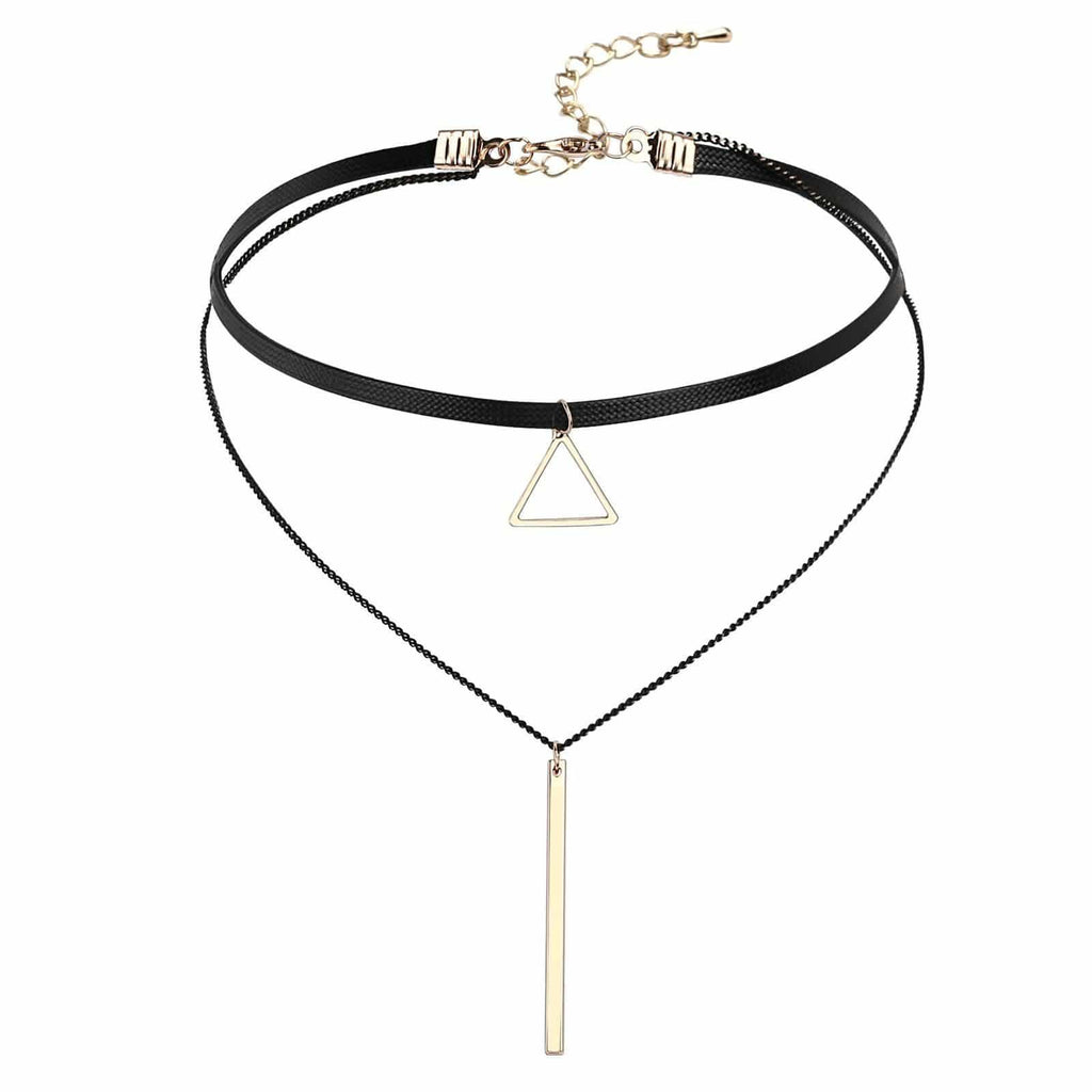 Gold Layered Chokers Beaded Triangular and Cylindrical Leather Black Gold Len 34+6.4CM - AnaDx