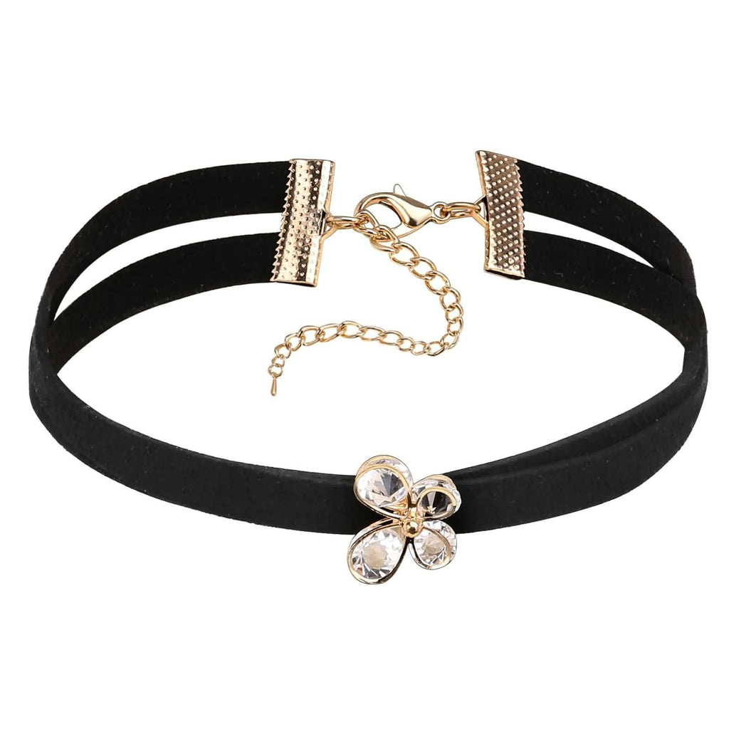 Womens Choker Necklace Choker for Girls Velvet Butterfly Crystal Inlaid Clavicle Black Gold 31+8.5CM - AnaDx