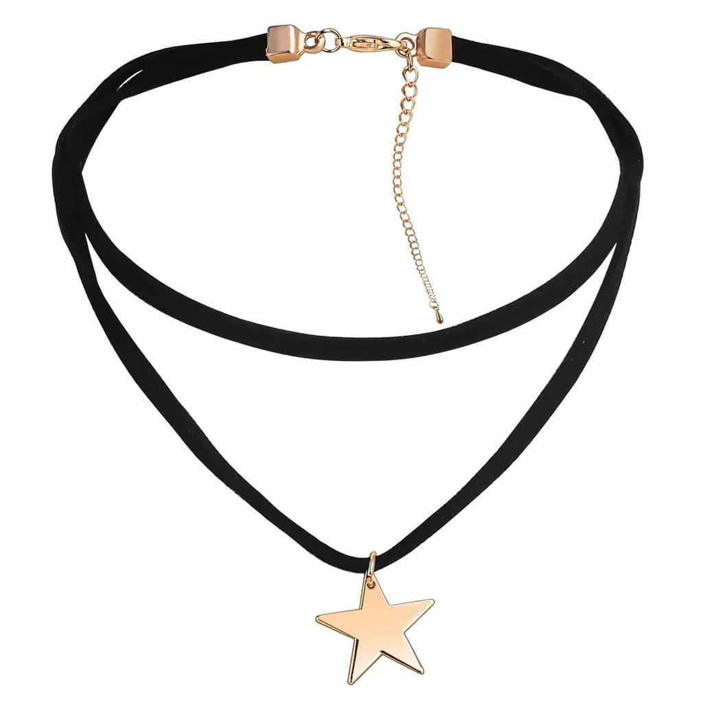 Womens Choker Collar Chokers Necklaces Velvet Statement Star Clavicle Gold Black 35+13.5CM - AnaDx