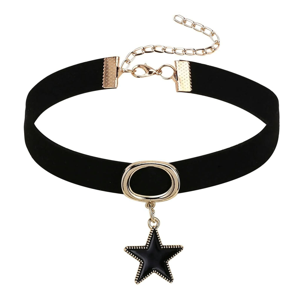 Black Choker Chain Choker Necklaces Velvet Circle Black Star Clavicle Gold Black 32+8.5CM - AnaDx