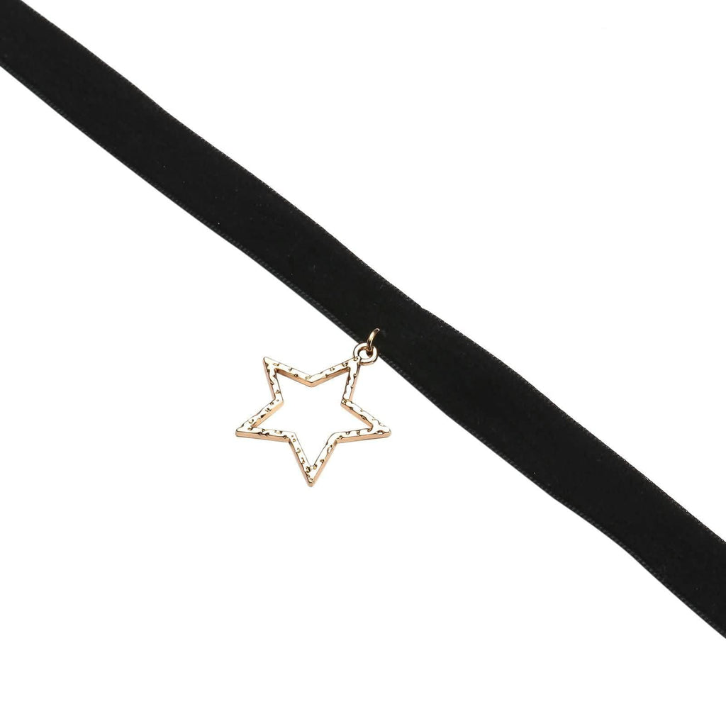 Gold Layered Chokers Black Velvet Hollow Star Clavicle Gold Black 31.5+8CM - AnaDx