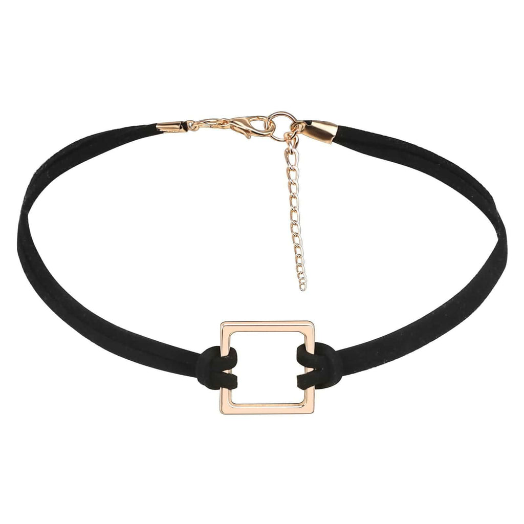 Lucky Layer Choker Womens Choker Top Velvet Knot Square Frame Clavicle Gold Black 33+6.5CM - AnaDx