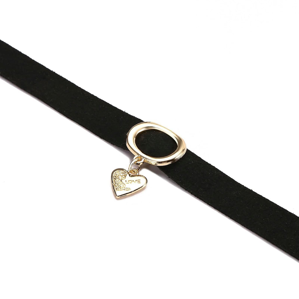 Black Choker With Pendant Chokers Black Velvet Circle Heart Flower Engraved Love Gold Black 32+8.5CM - AnaDx