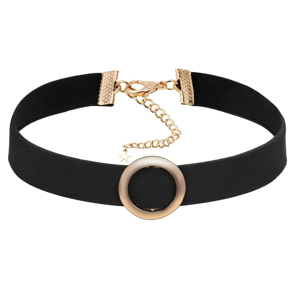 Chokers and Charms Chokers Leather Velvet Single Circle Clavicle Gold Black 30+8.3CM - AnaDx