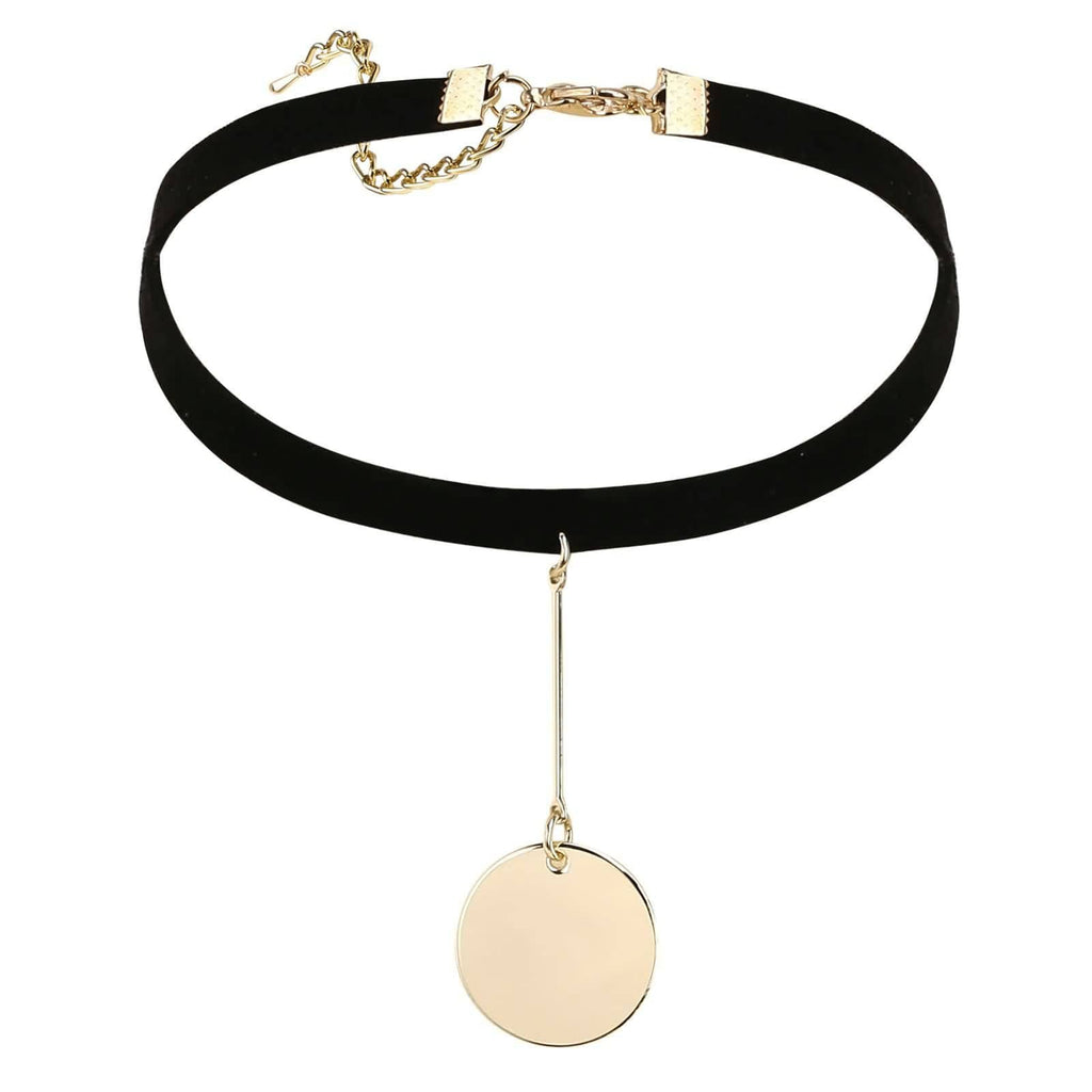 Black Choker Chain Choker Necklace Velvet Single Dangle Circle Clavicle Gold Black 32+8.3CM - AnaDx