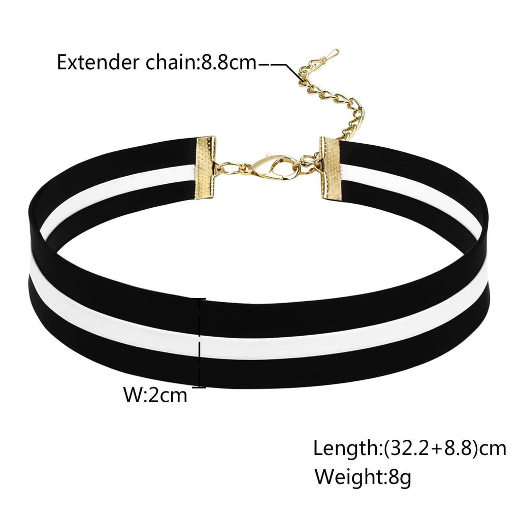 Double Layer Choker Necklace Chokers Chain PU Leather Circle Two Layers Clavicle Black White 32.2+8.8CM - AnaDx
