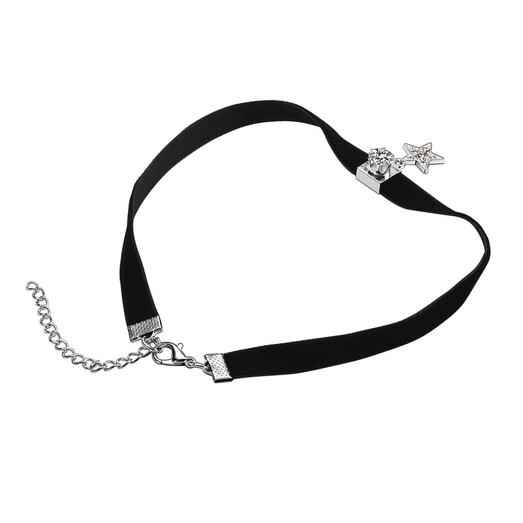 Gold Layered Choker Choker for Girls Velvet Square Round Crystal Star Crystal Paving Silver Black 34+7.2CM - AnaDx