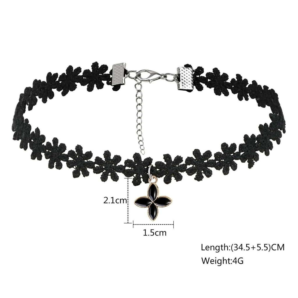 Womens Choker Necklace Choker Collar Floral Lace Full Flower Circle Necklack Gold Black 34.5+5.5CM - AnaDx