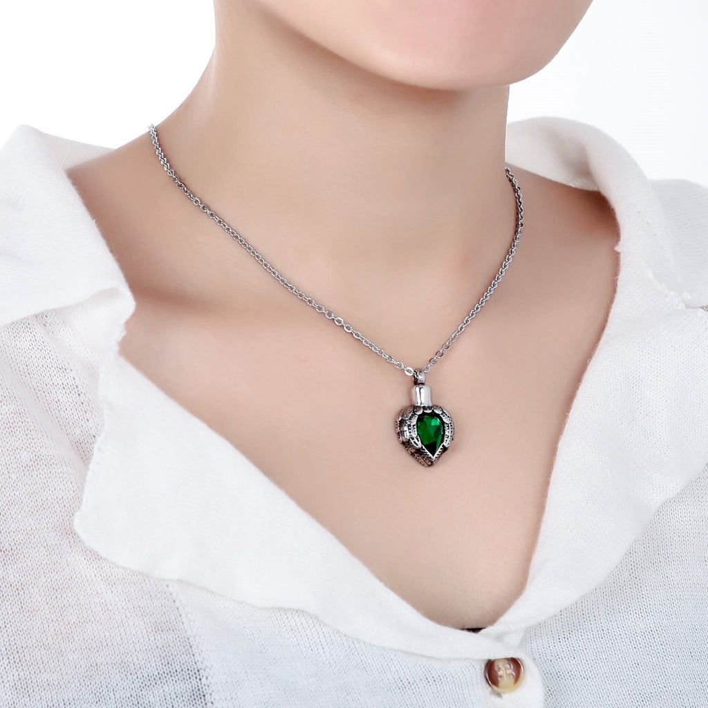 Ashes Pendant for Women Urn Necklace Stainless Steel Heart Shape Green