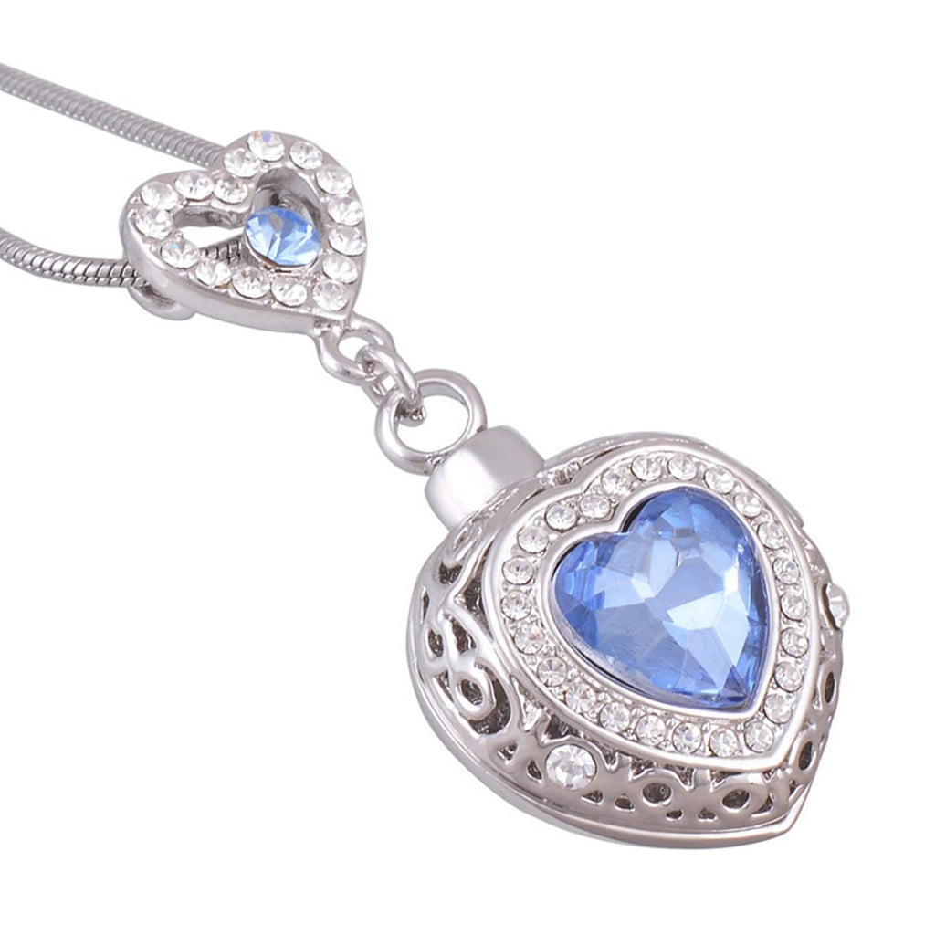 Urn Necklace Ashes Pendant for Women Stainless Steel Cubic Zirconia Heart Shape Blue Engraved