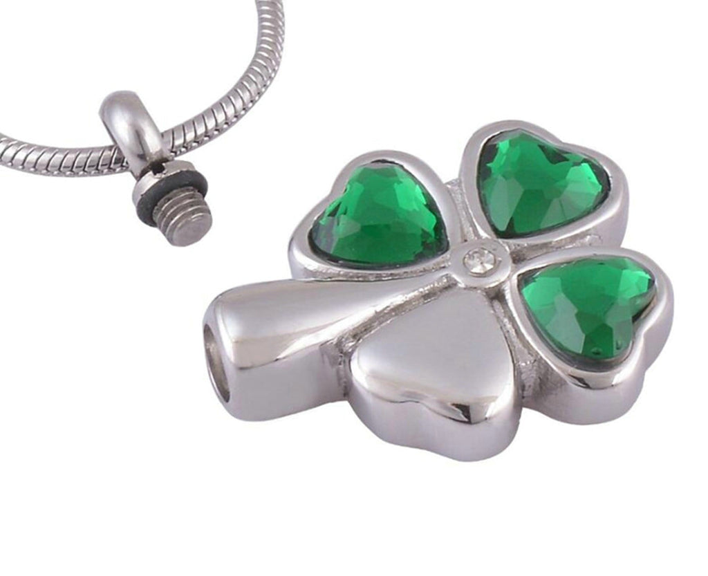 Ashes Pendant for Women Urn Necklace Stainless Steel Clover Heart Green