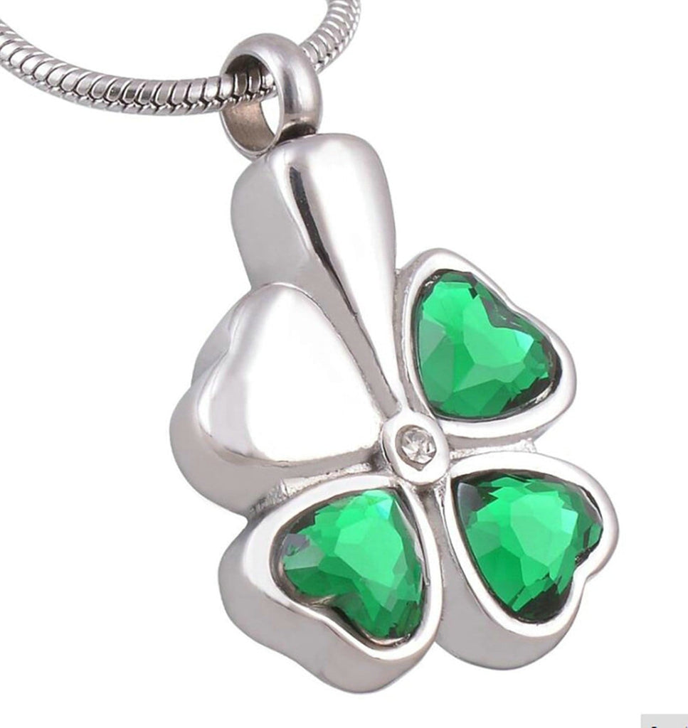 Ashes Necklace for Women Stainless Steel Green Clover Heart Green Engraved