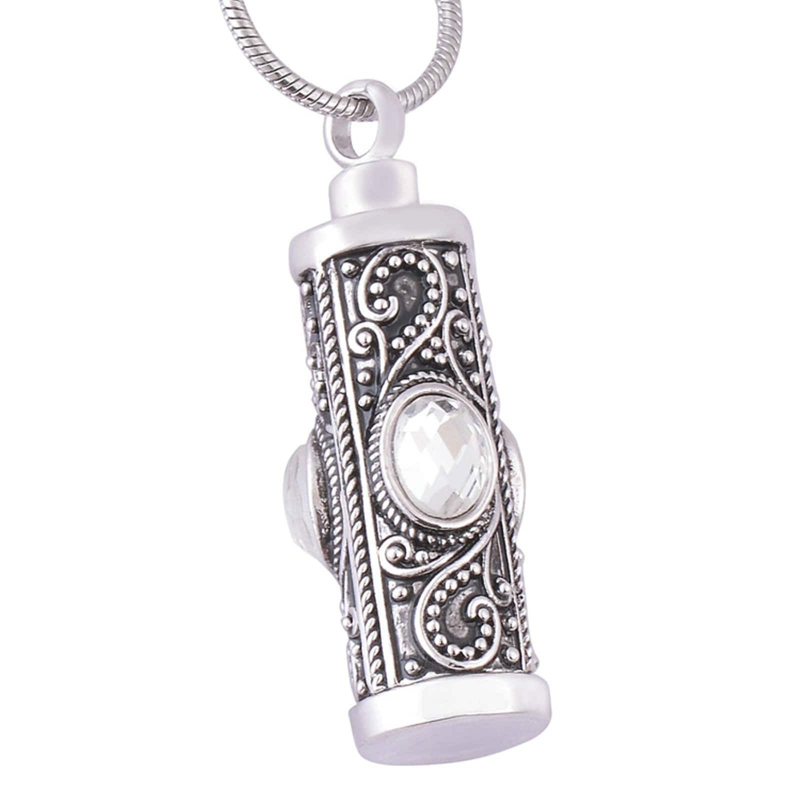 Urn Necklace Ashes Pendant for Women Stainless Steel Cubic Zirconia Vintage Cylinder Silver