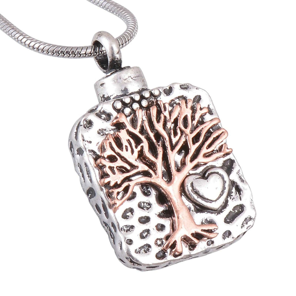 Ashes Pendant for Women Urn Necklace Stainless Steel Tree Of Life Silver