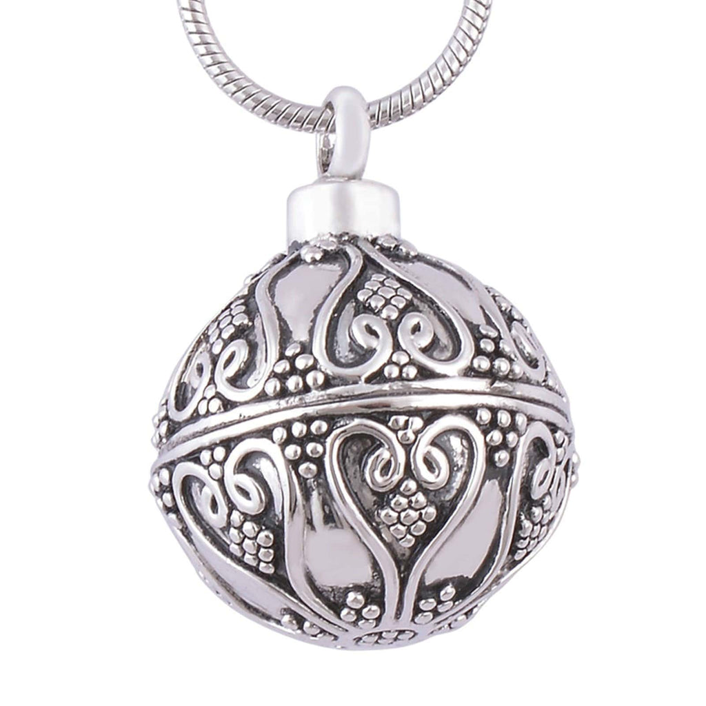 Ashes Necklace for Women Stainless Steel Spherical Perfume Bottle Silver