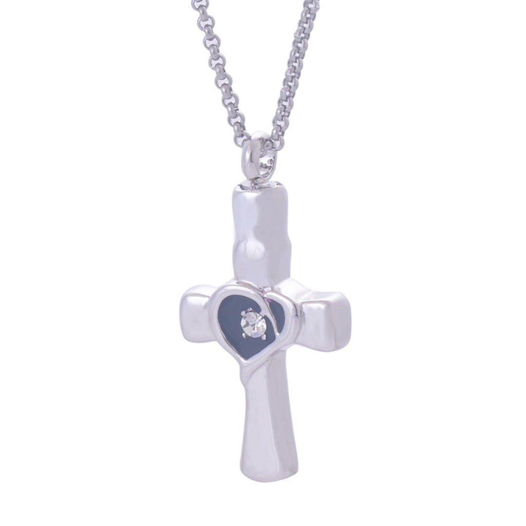 Urn Necklace Ashes Pendant for Women Stainless Steel Zirconia Cross Silver Engraved 1.85x3.25CM