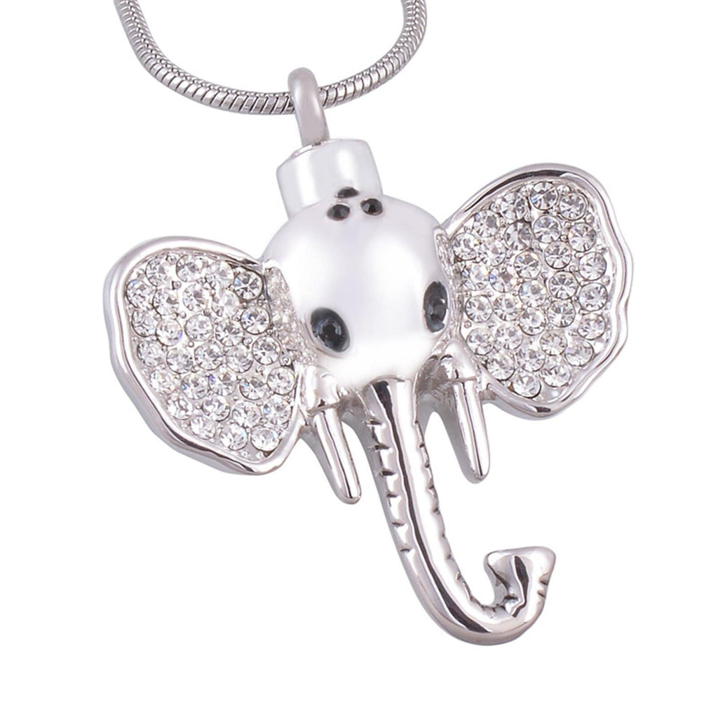 Urn Necklace Stainless Steel Women Ashes Pendant Cubic Zirconia Elephant Silver