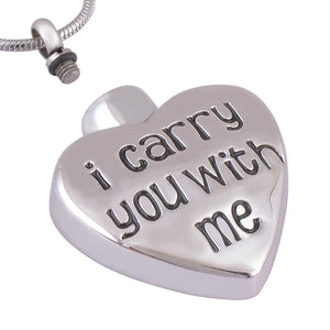 Ashes Necklace for Women Stainless Steel I Carry You With Me Heart Silver