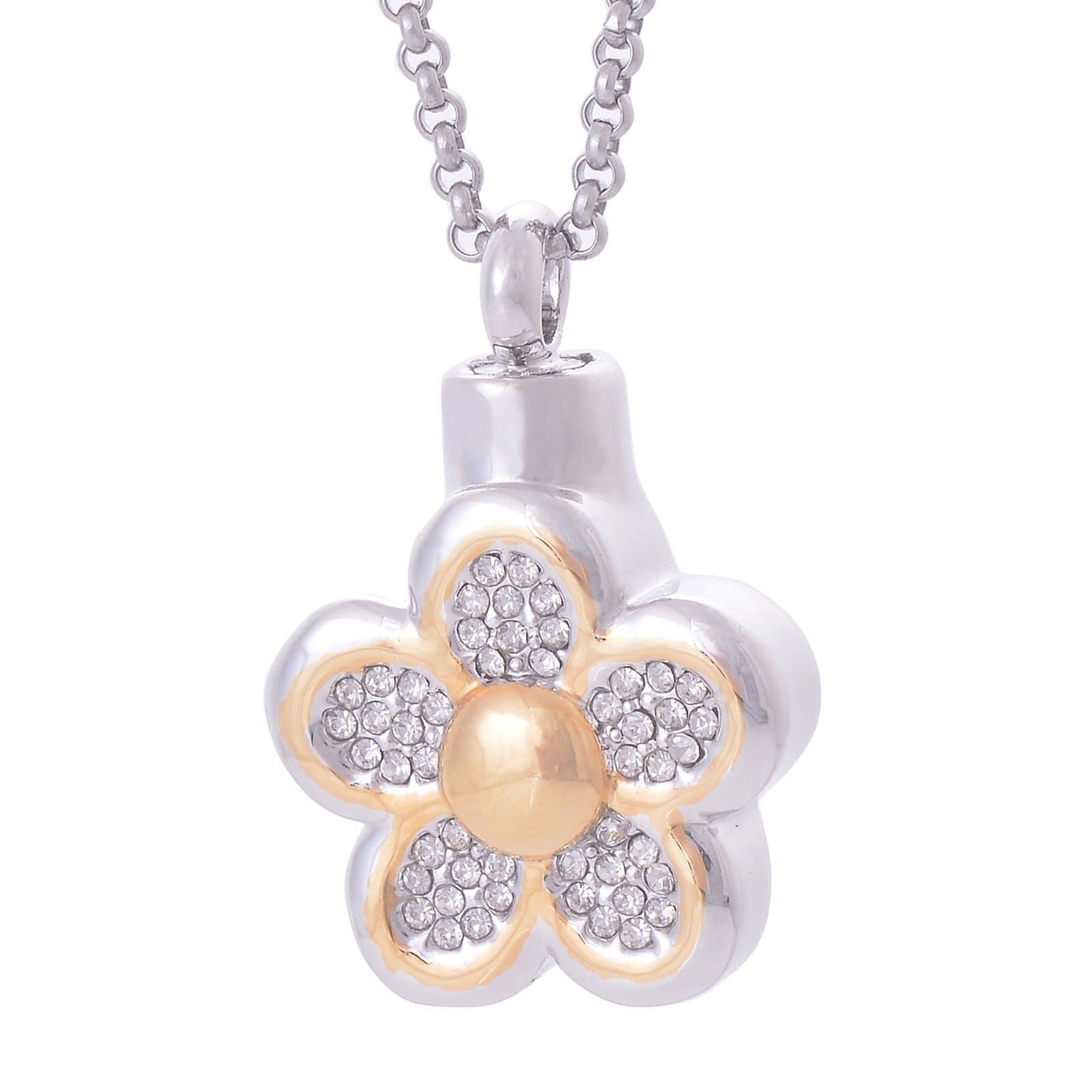 Ashes Pendant for Women Urn Necklace Keepsake Jewelry Stainless Steel Cubic Zirconia Flower Gold