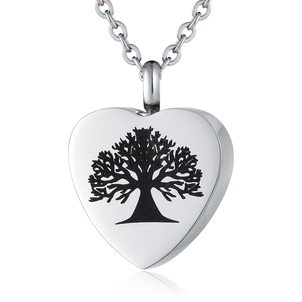 Ashes Necklace for Women Stainless Steel Big Tree Heart Silver