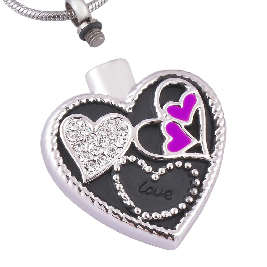 Ashes Pendant for Women Urn Necklace Stainless Steel Heart Silver
