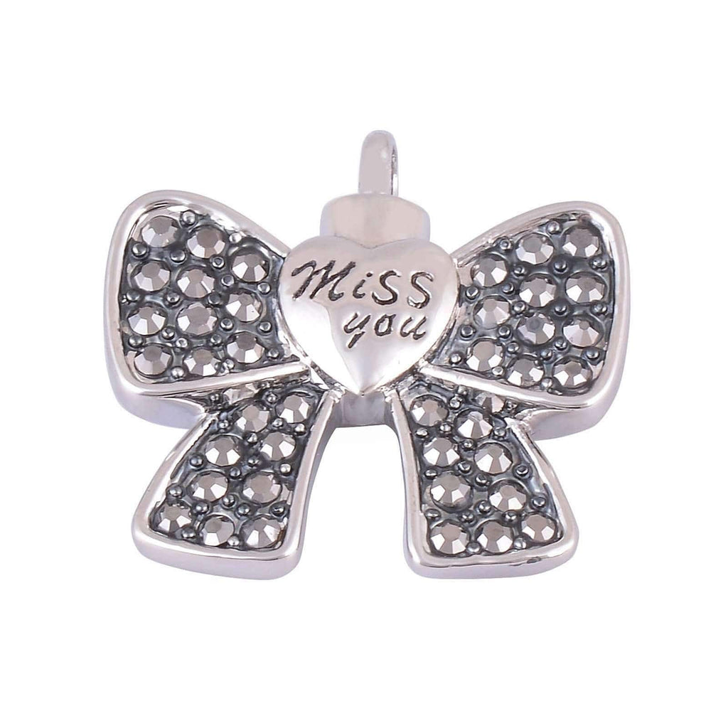 Ashes Pendant for Women Urn Necklace Stainless Steel Bow Tie Miss You Black