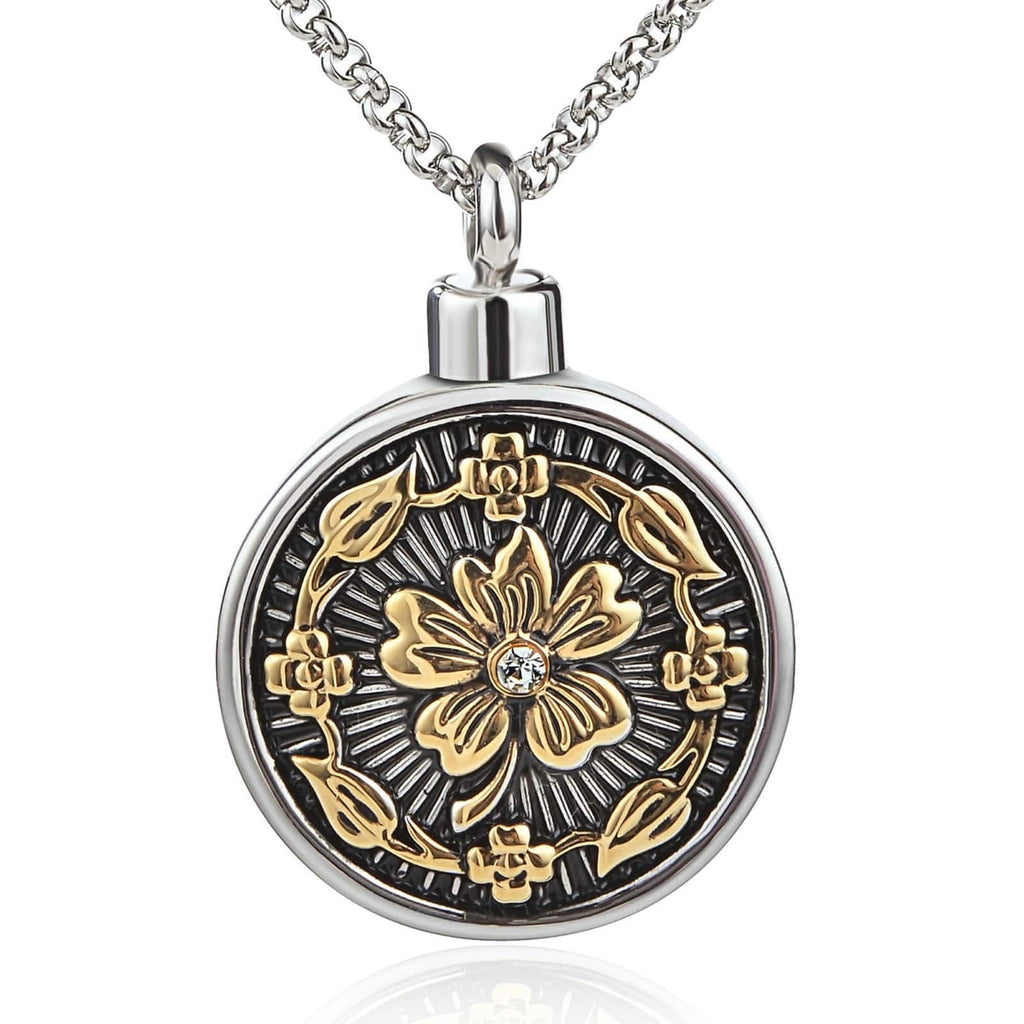 Urn Necklace Ashes Pendant for Women Stainless Steel Flower Shape Round Tag Silver Engraved