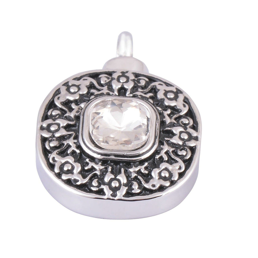 Ashes Pendant for Women Urn Necklace Stainless Steel Round Tag Blue