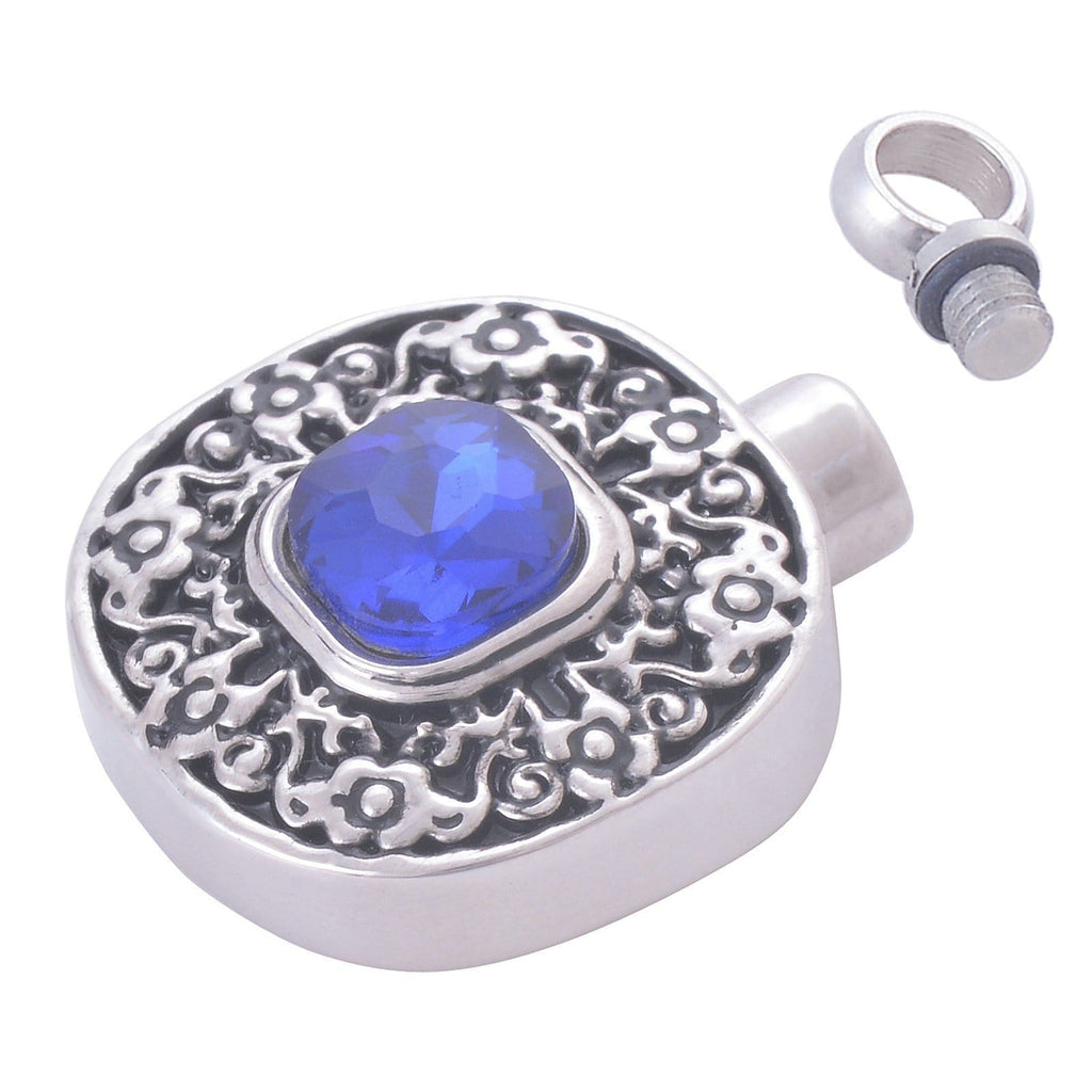 Urn Necklace Ashes Pendant for Women Stainless Steel Cubic Zirconia Round Blue Engraved