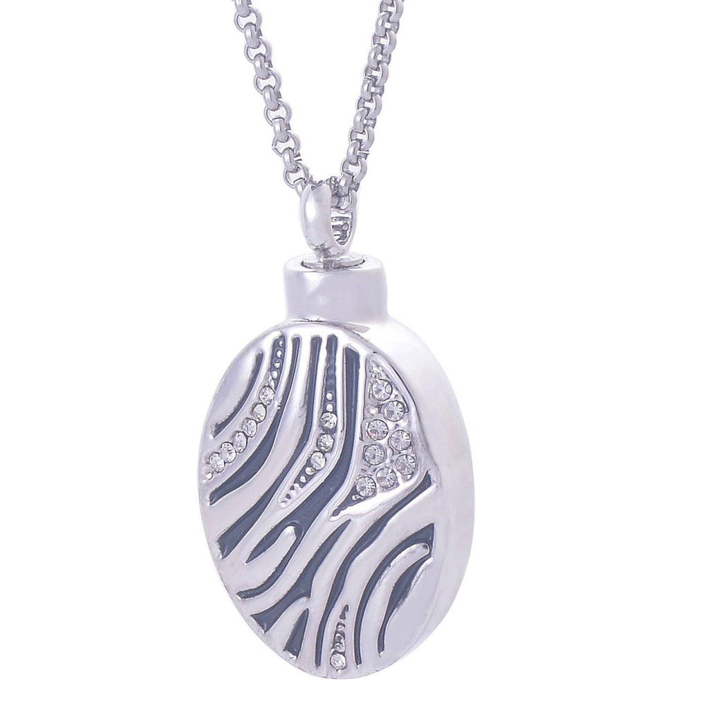 Urn Necklace Ashes Pendant for Women Stainless Steel Cubic Zirconia Oval Bottle Gold Engraved